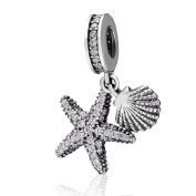 Tropical Starfish and Seashell Charms Solid 925 Sterling Silver Dangle Bead with Cubic Zircon Pendants for European Bracelet