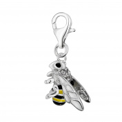 Quiges 925 Sterling Silver White Cubic Zirconia and Enamel 3D Insect Bee Clip On Charm Pendant