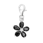 Quiges 925 Sterling Silver Crystal Black Pear Cubic Zirconia Flower Clip On Charm Pendant