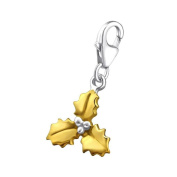 So Chic Jewels - 925 Sterling Silver Holly Leaf Charm with Lobster