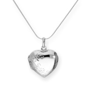 Sterling Silver Engravable Floral Heart Locket on Chain 16 - 60cm