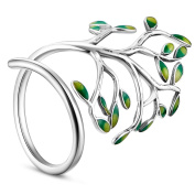 Sweetiee 925 Sterling Silver Ring with Enamel Green Leaves Platinum 18mm for Woman