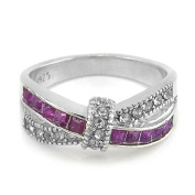 TOOGOO(R) Purple Amethyst & CZ Criss Cross Ring Band Filled Jewellery Size:6