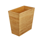 Woodluv Slimline Rubbish Bamboo Waste Paper Bin - Made from 100% Natural Eco-Friendly Bamboo