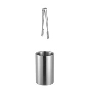 MagiDeal Silver Stainless Steel Ice Bucket Cooler Drink Bottle Chiller with Ice Tong