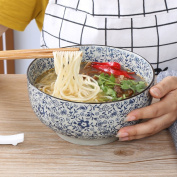 Japanese Style Creative Ceramic Ramen Bowl Household Blue And White Porcelain Soup Bowl Large Capacity Fruit Salad Bowl