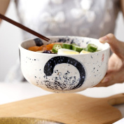Japanese Style Creative Ceramic Ramen Bowl Household Soup Bowl Large Capacity Tableware Fruit Salad Bowl