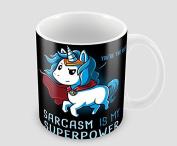 Hiros®Sarcasm is my superpower themed unicorn Gift mug idea , 330ml ceramic mug , Birthday gift. Christmas gift.
