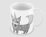 Hiros®Ornate Cat - Unicorn themed 330ml ceramic gift mug idea , Ornate mug , unicorn gift mug , unicorn cat , funny cat , holiday gift idea , Christmas gist.