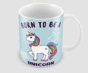 Hiros®Born to be unicorn themed 330ml ceramic gift mug , Birthday gift , Unique gift mug , ideal for unicorn lover , holiday gift .