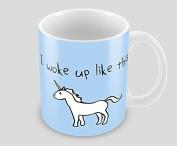 Hiros®Unicorn themed I woke up like this 330ml ceramic unique novelty gift mug idea , Christmas gift for anyone , Birthday gift.