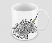 Hiros®Unicorn doodle believe 330ml ceramic mug , Unicorn Gift , Birthday Gift , Christmas gift , Would make a great gift for anyone.