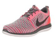 Nike Kids Roshe Two Flyknit (GS) Hot Punch/Dark Grey Wolf Grey Running Shoe 4.5 Kids US