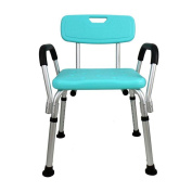 TSAR003 Aluminium Alloy Bathroom Shower Chair, With Armrest And Backrest, Height Adjustable, Tool-Free Installation, Especially For The Elderly, Children, Pregnant Women, 100kg Load