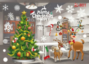 Christmas Decoration Window Glass Stickers Merry Christmas Santa Claus Snow PVC Removable Wall Sticker for Xmas Home Decals #1