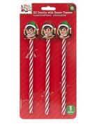 3 Elf design pencils with eraser toppers
