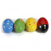 WDOIT 1Pcs Baby Children's Bells Egg Sand Ball Percussion Instrument Toy Colour Cute Wooden 7.5cmX4.5Cm Colour Random