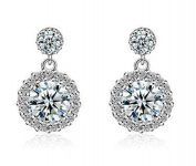 Boowhol Women's Stud Earrings 925 Sterling Silver Sparkling Diamond White Round Cubic Zirconia Hypoallergenic Stud Earrings