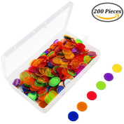Keriber 204 Pieces Bingo Chips Transparent Colour Counters Counting Plastic Markers with Storage Bag