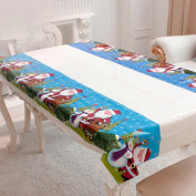 BESTOMZ Christmas Table Cloth Rectangular Disposable PVC Table Cover Tablecloth Table Runner Christmas Home Party Decor 110x180cm