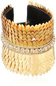 Deepa Gurnani Fashion Jewellery Gold Brass Feather Statement Bracelet