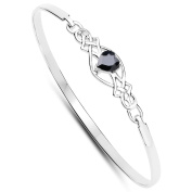 Rennie . Style Sterling Silver Black Sapphire Heart Clip Bangle