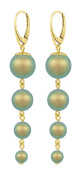 ARLIZI earrings 925 silver 24ct gold plated green pearls 1343