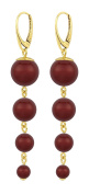 ARLIZI earrings 925 silver 24ct gold plated red pearls 1341