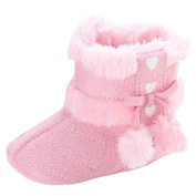 F-eshiat Baby Grils Booties, Fashiat Furry Ball Bowknot Soft Sole Crib Shoes Toddler Snow Boots
