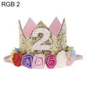 Bodhi2000 Baby Infant Birthday Hairband Sequins Flower Crown Headwear Hat