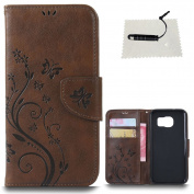 Samsung Galaxy S7 Leather Wallet Case,TOCASO Folio Leather Wallet Case with [Kickstand][Card Slots][Magnetic Closure] Flip Notebook Embossed Butterfly Solid Colour Flower Leather Case for Samsung Galaxy S7-Coffee Brown