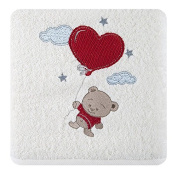 Children's Terry Towelling Bath Towel 50x90 cm Absorbent 450 GSM 14/01/Cream Bear with Balloon Hearts