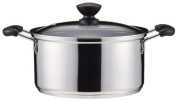 Two handed pan 20 cm with glass pot lid IH compatible inner surface fluorine processing 3 layer bottom Both Handle Pan