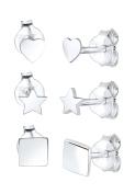 Elli Women Rectangle Geo Heart Star Minimal 925 Sterling Silver Earrings