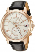 Tommy Hilfiger Women's 'SOPHISTICATED SPORT' Quartz Gold and Leather Casual Watch, Colour:Black (Model