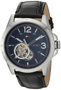 Tommy Hilfiger Men's Quartz Stainless Steel and Leather Casual Watch, Colour:Black (Model