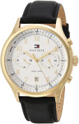 Tommy Hilfiger Men's 'SPORT' Quartz Gold-Tone and Leather Casual Watch, Colour:Brown (Model