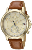 Tommy Hilfiger Women's 'SOPHISTICATED SPORT' Quartz Gold-Tone and Leather Casual Watch, Colour:Brown (Model