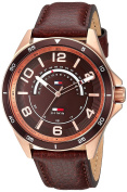 Tommy Hilfiger Men's 'SPORT' Quartz Gold and Leather Casual Watch, Colour:Brown (Model