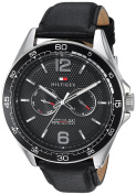 Tommy Hilfiger Men's 'Sophisticated Sport' Quartz Resin and Leather Casual Watch, Colour:Black (Model