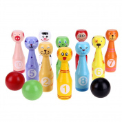 Domybest Mini Cartoon Wooden Bowling Ball Game Cute Animal Shape Kids Children Educational Toy Christmas Gifts