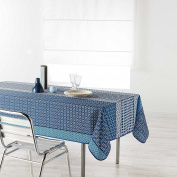 Douceur d 'Intérieur Rectangular Tablecloth, Polyester, 150 x 200 cm, indigo