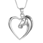 Creative Horse in Heart Pendant Necklace Silver Plated Women Party Club Jewellery