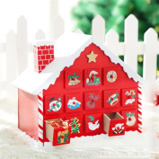 Wood Christmas Snow House Calendar Countdown Candy Drawer, Indexp Multifunctional Crafts Home Decoration Ornament Toy Gift Set