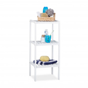 Relaxdays Bathroom 3 80 x 34.5 x 33 cm, Colourful Shelving Unit for Children, Kitchen Rack, Bamboo, White, 33 x 34.5 x 80 cm