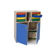 Mobeduc Wardrobe with 2 Doors and 2 Bays of Trays, Wood, Dark Blue, 90 x 112 x 40 cm