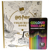 Harry Potter Colouring Book 1 Plus 12 Coloured Pencils Colour Therapy for Adults