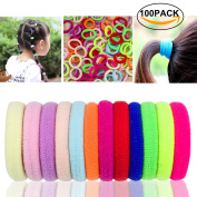 100PCS Varicolored Hair Ties Hairbands Elastic Hair Bands Hair Rings Hair Loop Clips Hair Hoops Hair Accessories for Kids Children Girls