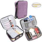 """Teamoy Makeup Brush Bag(up to 23cm/8.8""""), Travel Cosmetic Artist Organiser Case for Beauty Brushes, Make-up Kit, Purple"""