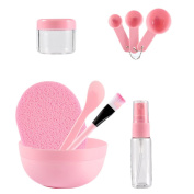 9-in-1 Face Mask Mixing Tool Bowl Brush Spoon Stick Makeup Beauty Set Facial Skin Care for Lady Women Pink